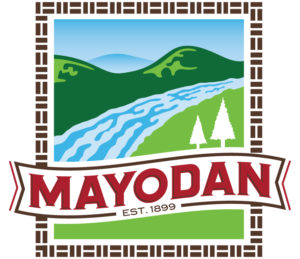 Town of Mayodan full logo with river and mountains